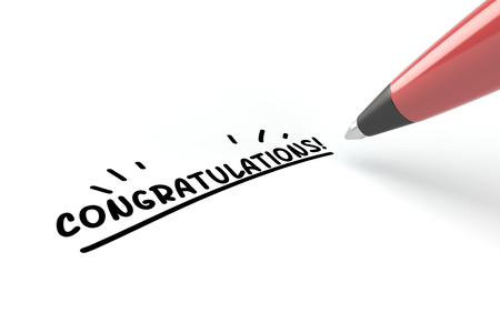 pen writing: Pen writing congratulations! on a white piece of paper (3D Rendering)