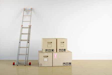 relocation: Relocation with moving boxes and ladder on a wall in empty room (3D Rendering) Stock Photo