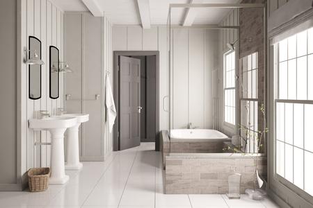 Moderne salle de bain lumineuse avec baignoire et douche et deux lavabos (rendu 3D) Banque d'images