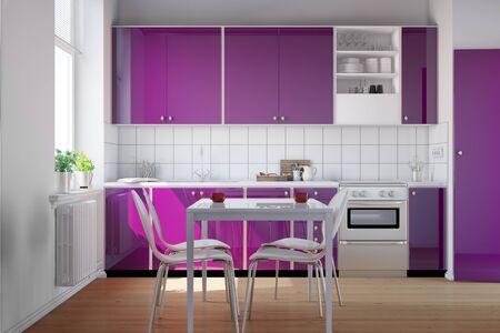 kitchenette: Small clean bright kitchen with purple kitchenette (3D Rendering)