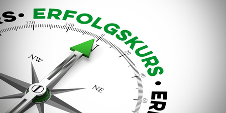 """Green arrow on compass pointing to German word """"Erfolgskurs"""" (way to success) (3D Rendering) Stock Photo"""