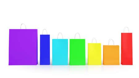 3d rainbow: Many colorful shopping bags in rainbow colors (3D Rendering) Stock Photo