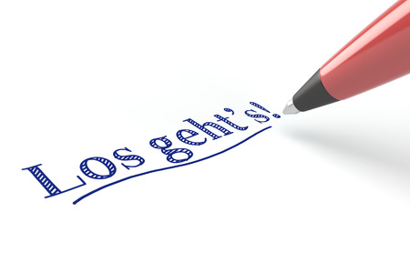 settle: Pen writing in German Los gehts! (Lets go!) on a white piece of paper (3D Rendering) Stock Photo