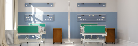 sickbed: Empty double room in hospital with two clinic beds (3D Rendering) Stock Photo