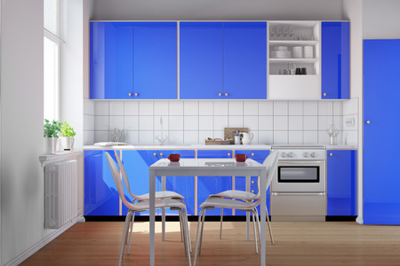 kitchenette: Small clean kitchen with blue kitchenette and table with chairs (3D Rendering)
