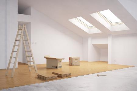 Het leggen van hardhout op de vloer in de zolder tijdens de renovatie (3D rendering)