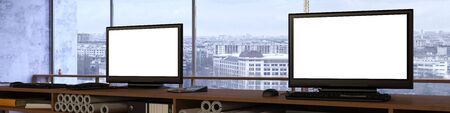 computer screens: Office panorama with two empty white computer monitor screens (3D Rendering)