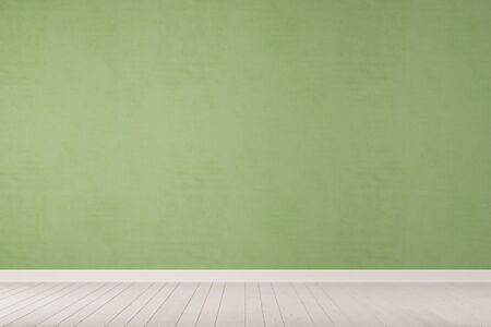 wall design: Empty green concrete wall with white wooden floor