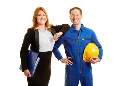 boiler suit: Profession in construction or business as a team Stock Photo