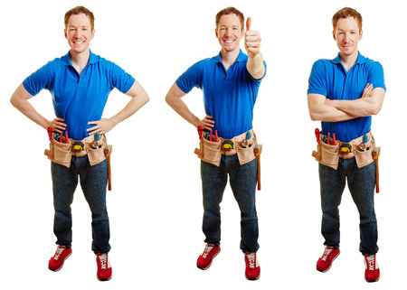 happy worker: Craftsman in different positions like smiling and holding thumbs up