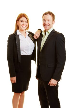 apprenticeship employee: Two content business people smiling as a team Stock Photo
