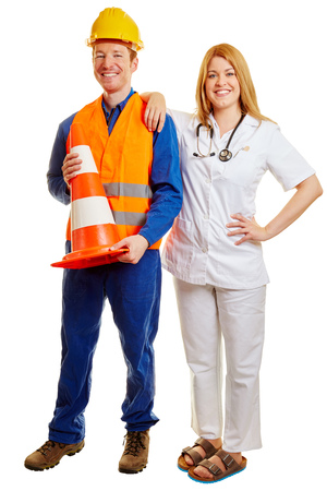 blue collar: Blue collar worker and a doctor smiling as a team