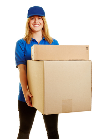 forwarding: Woman as a parcel carrier with packages to deliver