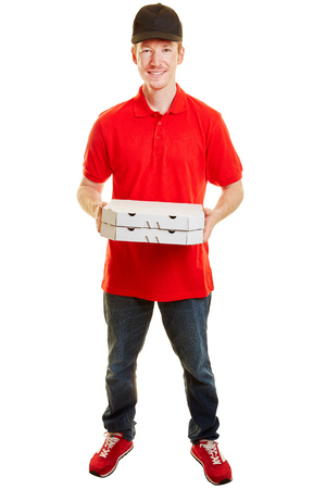 side job: Pizza delivery guy with two pizzas smiling and standing on a white background