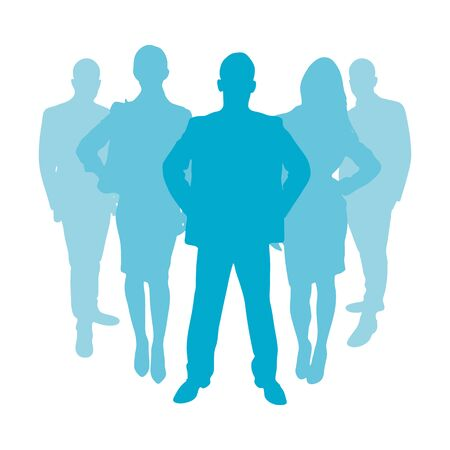apprenticeship: Business people group as a silhouette in color blue