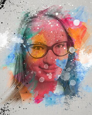 femme dessin: Colorful dessin aquarelle d'une jeune fille souriante avec des lunettes Banque d'images