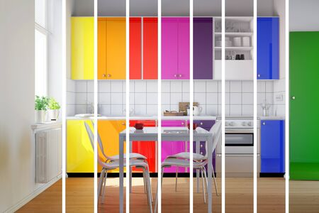fitted: Colorful kitchen in rainbow stripes as color selection for interior design choices (3D Rendering)