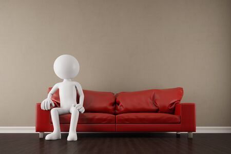 the white house: White 3D guy sitting on a red sofa in the living room (3D Rendering)