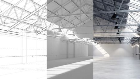 Draft and planning of big storage warehouse with CAD blueprint and 3D Rendering