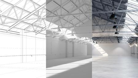 Entwurf und Planung von großen Lagerhalle mit CAD-Entwurf und 3D-Rendering Standard-Bild - 61608457