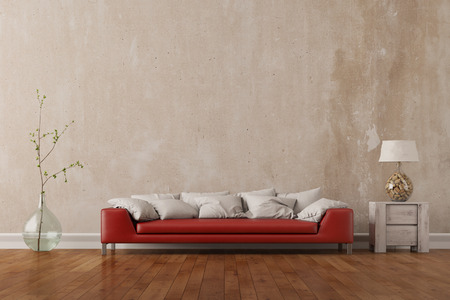 空壁 (3 D レンダリング) の前にリビングの赤いソファ立って