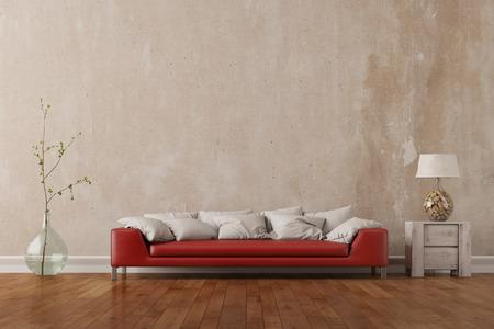 Rode bank in de woonkamer staat in de voorkant van een lege muur (3D rendering) Stockfoto