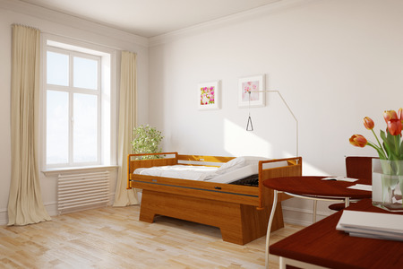 sickbed: Empty single hospital room in a nursing home (3D Rendering)