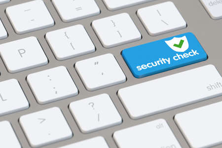 antivirus software: Online computer security check as concept on a blue key (3D Rendering)