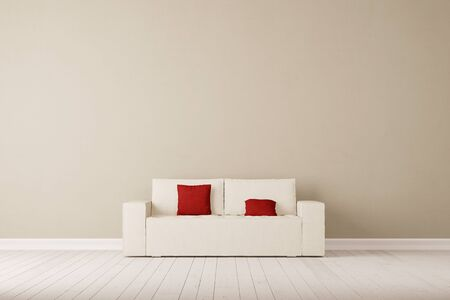 loveseat: Sofa with pillows in front of wall in a living room (3D Rendering) Stock Photo