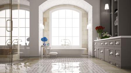 Wasserschaden in einem Bad mit Badewanne nach einer Flut (3D-Rendering)