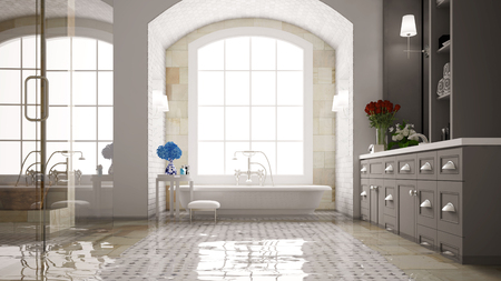 damages: Water damage in a bath with bathtub after a flood (3D Rendering)