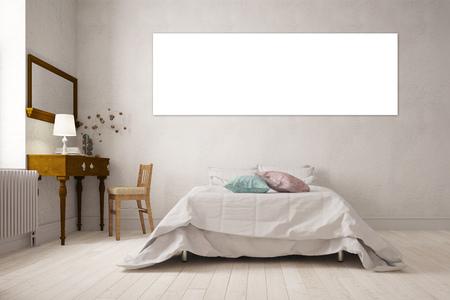 Toile vide panorama blanc sur le mur sur un lit dans une chambre (rendu 3D)