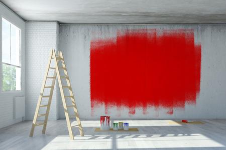Rode verf op de betonnen muur tijdens de renovatie in kantoor ruimte (3D rendering)