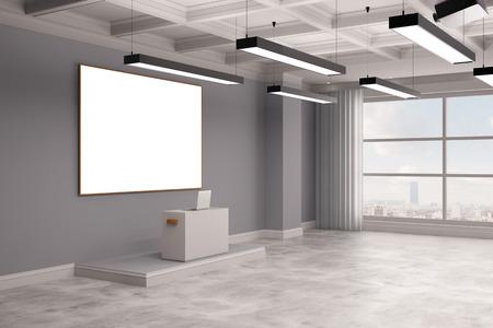 Lege conferentieruimte met een hoge bureau en een whiteboard (3D rendering) Stockfoto