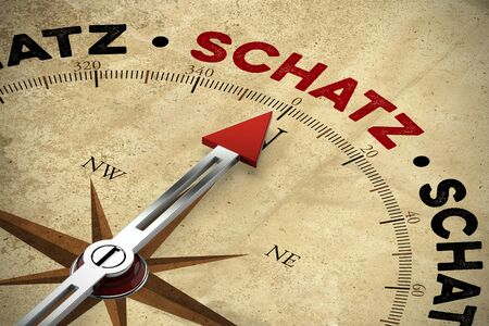 Red compass arrow pointing to the German word Schatz (treasure) (3D Rendering) Stock Photo