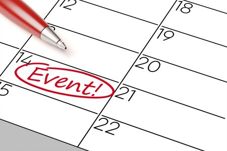 appointment book: Event date in a calender marked red with a pen (3D Rendering)
