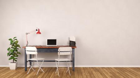 빈 벽 앞에 홈 오피스에 서있는 노트북 컴퓨터와 책상 (3D 렌더링) 스톡 콘텐츠