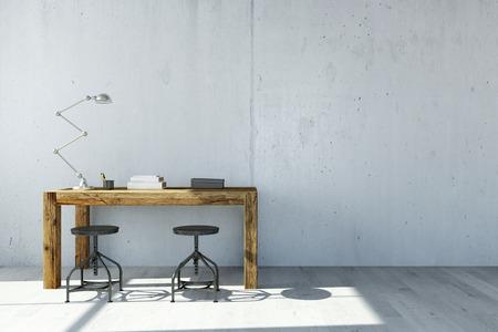 Scrivania con lampada davanti al muro di cemento in casa ufficio (rendering 3D)