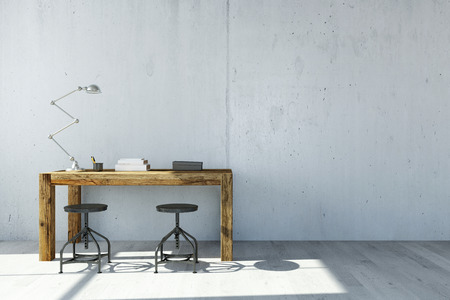 Stůl s lampou před betonovou stěnou v kanceláři (3D rendering)