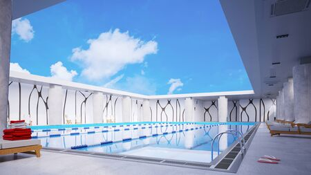 3d swimming pool: Swimming pool in hotel under blue sky with white clouds in summer (3D Rendering)
