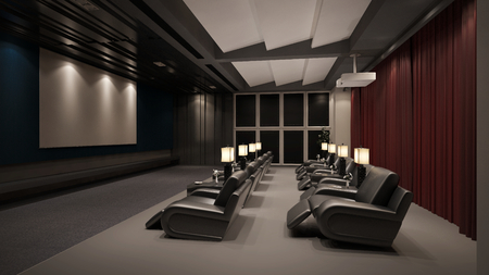 private room: Modern private home cinema system with beamer and canvas and many chairs (3D Rendering)