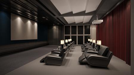 Moderne eigen home cinema-systeem met beamer en canvas en veel stoelen (3D rendering)