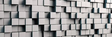 cuboid: Abstract panorama background with grey metal cubes (3D Rendering)