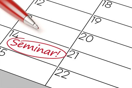 appointment book: Importent seminar marked with pen as an appointment in a calender (3D Rendering)