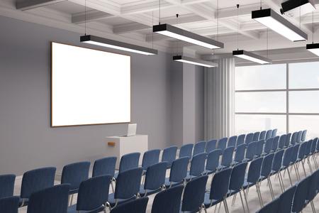 Conférence dans une salle de réunion avec des rangées de chaises et d'une toile (rendu 3D)