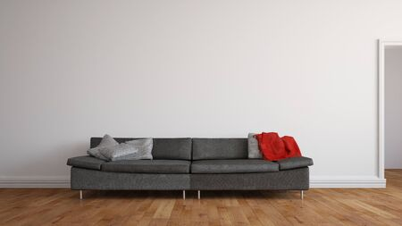 living room sofa: Space for canvas on wall on living room over a grey sofa (3D Rendering)