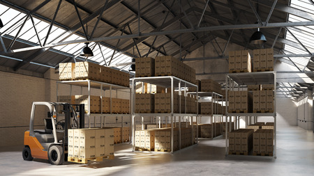 forwarding agency: Forklift carrying pallet with boxes in a warehouse (3D Rendering)