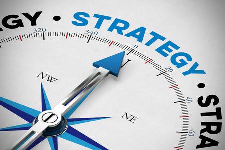 Orientacja na strategii biznesowej koncepcji jak na kompasie (3D rendering)