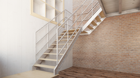 stairs: Simple metal stairs in an empty loft (3D Rendering)