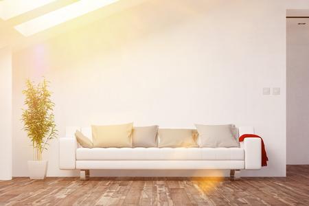 Soggiorno in mansarda luminoso con divano davanti a un muro (rendering 3D)
